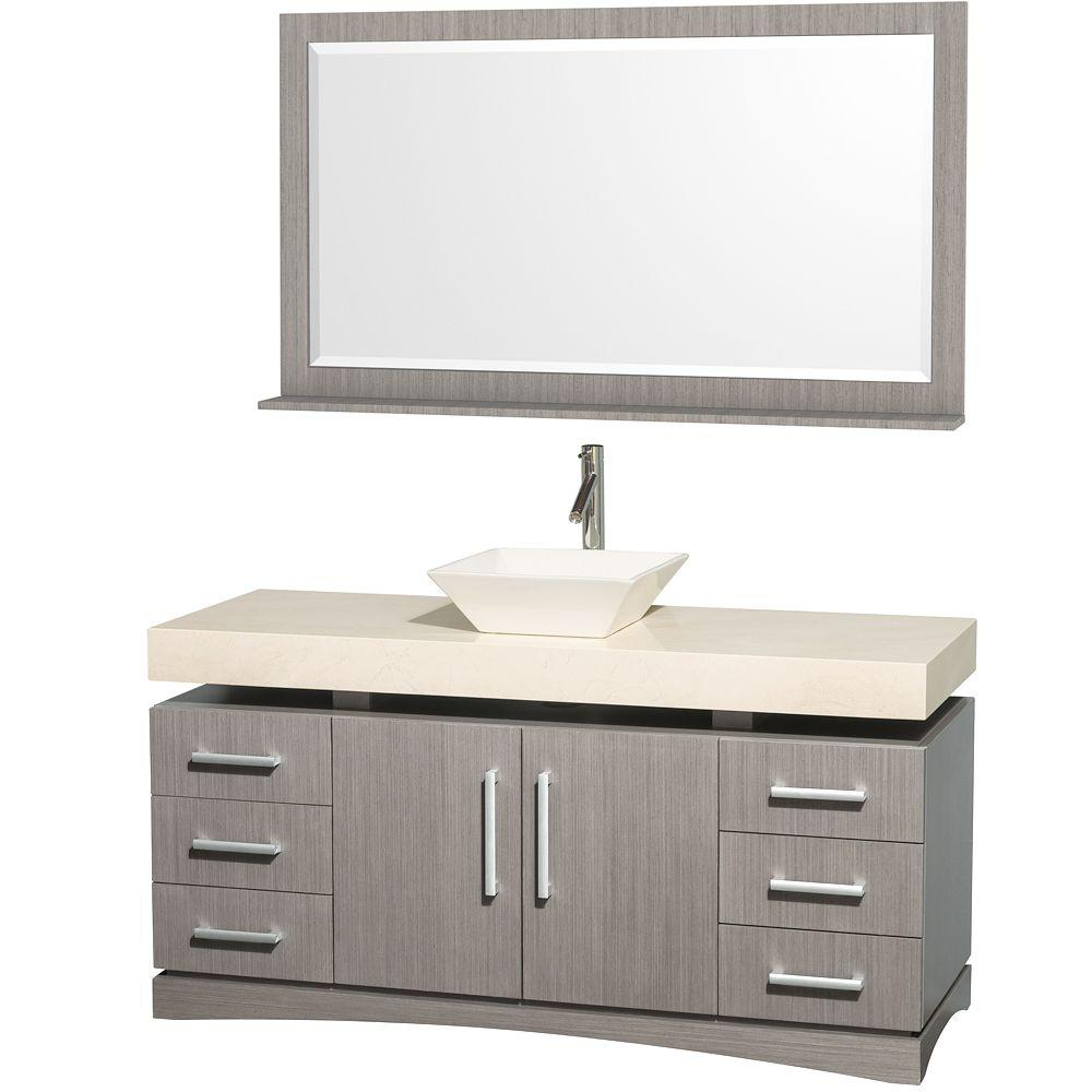 Wyndham Collection Monterey 60 in. Vanity in Grey Oak with Marble Vanity Top in Ivory and Bone Porcelain Sink-DISCONTINUED