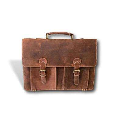 Brown Handmade Leather Messenger Bag with Adjustable 57 In. Strap and 18  In. Laptop 66b5f7375b