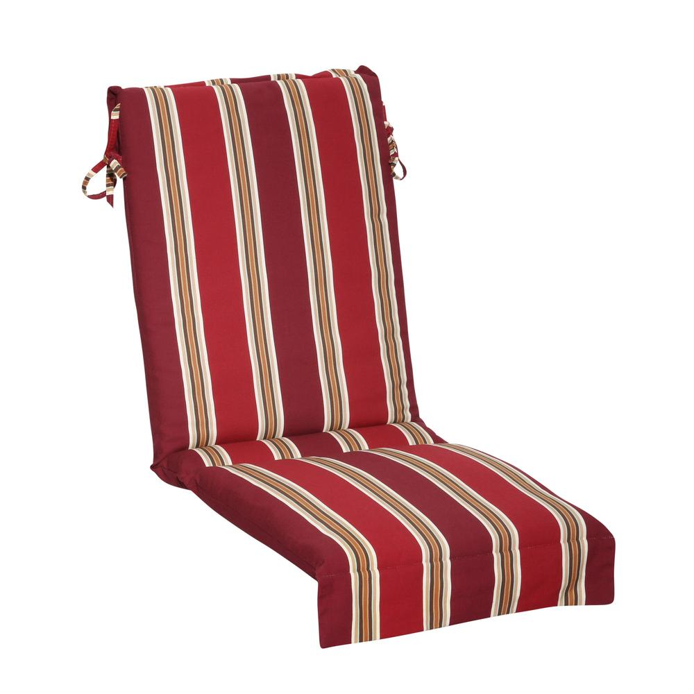 Hampton Bay Chili Stripe Outdoor Sling Chair Cushion