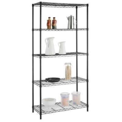 Black 5-Tier Steel Wire Shelving Unit (36 in. W x 72 in. H x 16 in. D)
