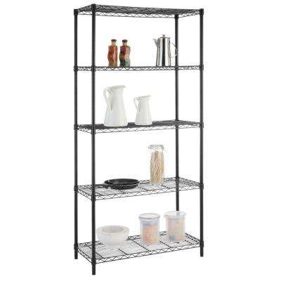 5-Tier Wire Garage Storage Shelving Unit in Black (36 in. W x 72 in. H x 16 in. D)