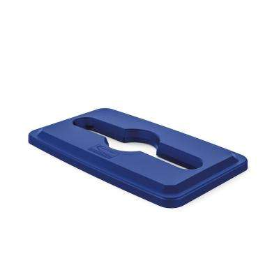 Slim Blue Paper and Recycling Trash Can Lid