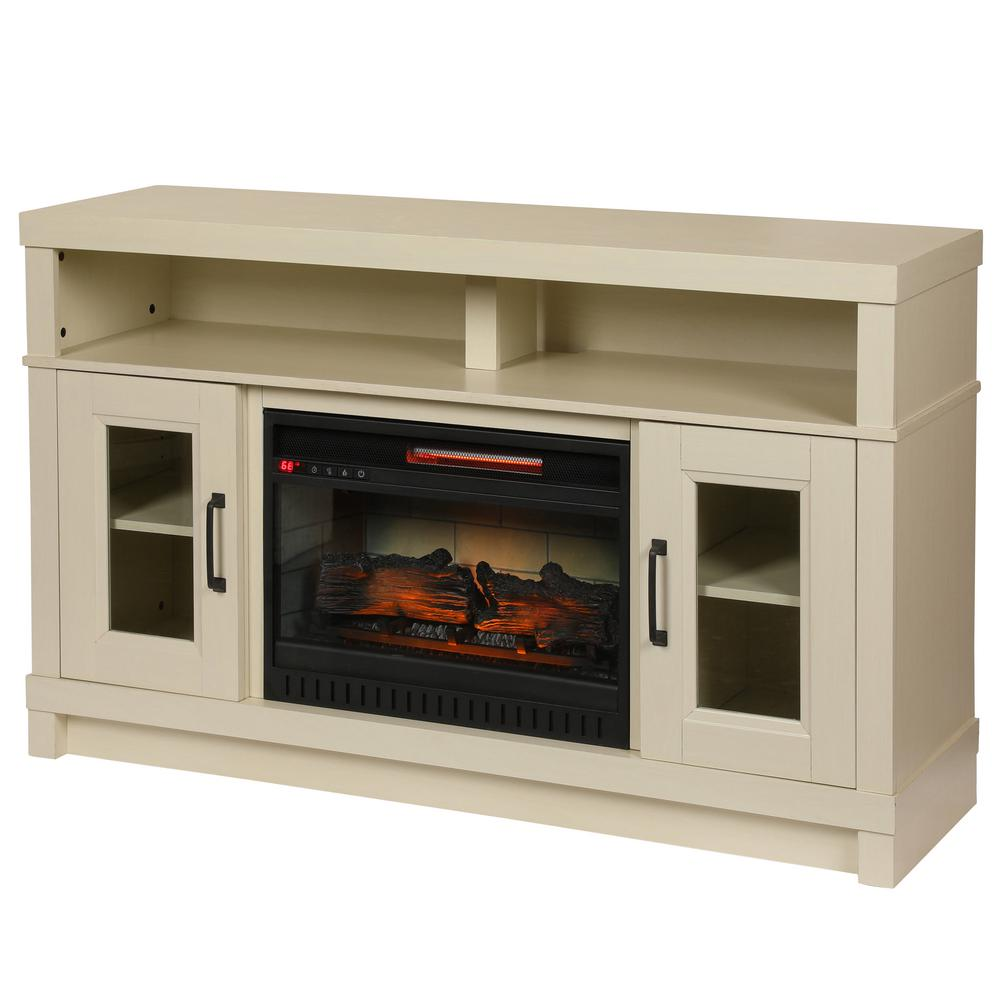 Ashmont 54 in. Freestanding Electric Fireplace TV Stand in Antique White