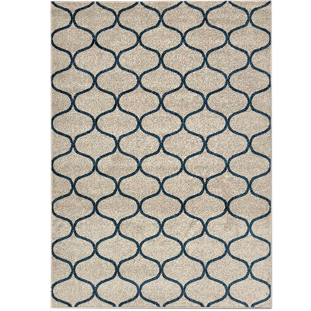 Pyramid Decor Ivory/Blue 5 ft. x 7 ft. Modern Geometric Pattern Area Rug