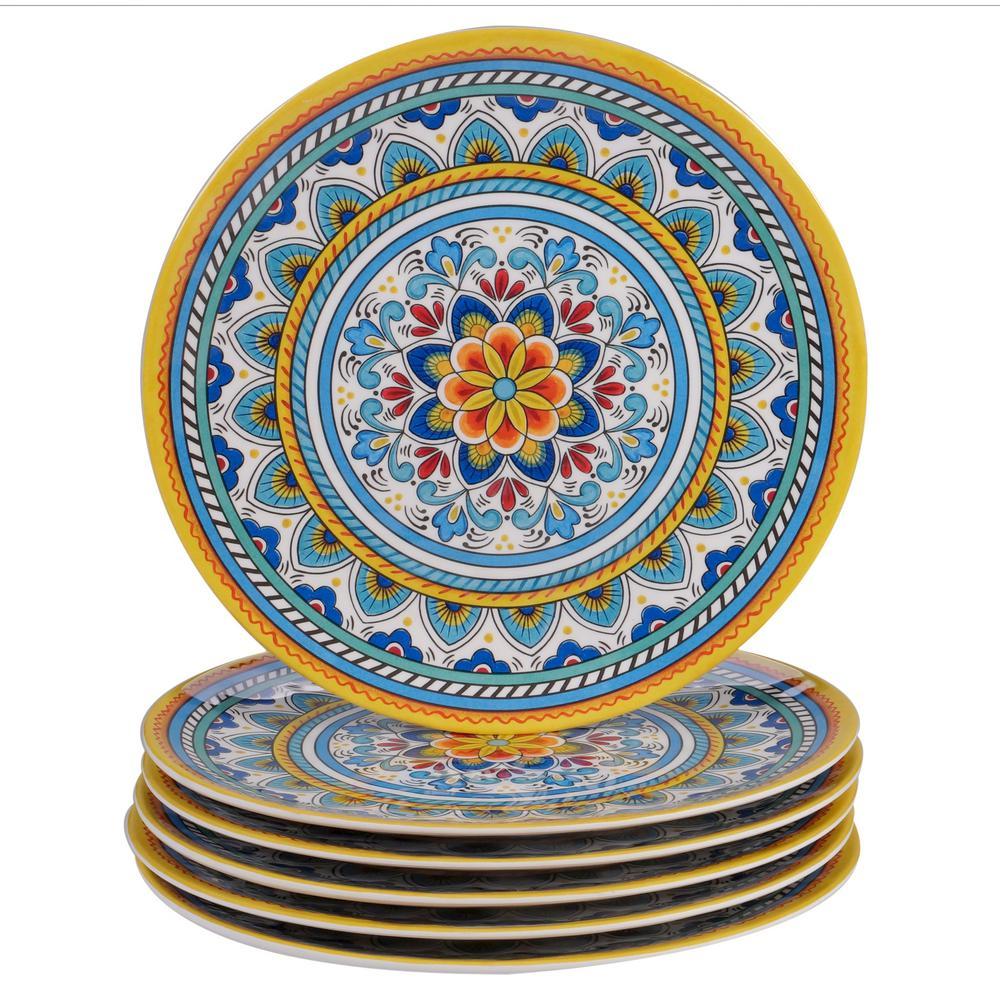 Portofino 6-Piece Seasonal Multicolored Melamine 11 in. Dinner Plate Set (Service for 6)