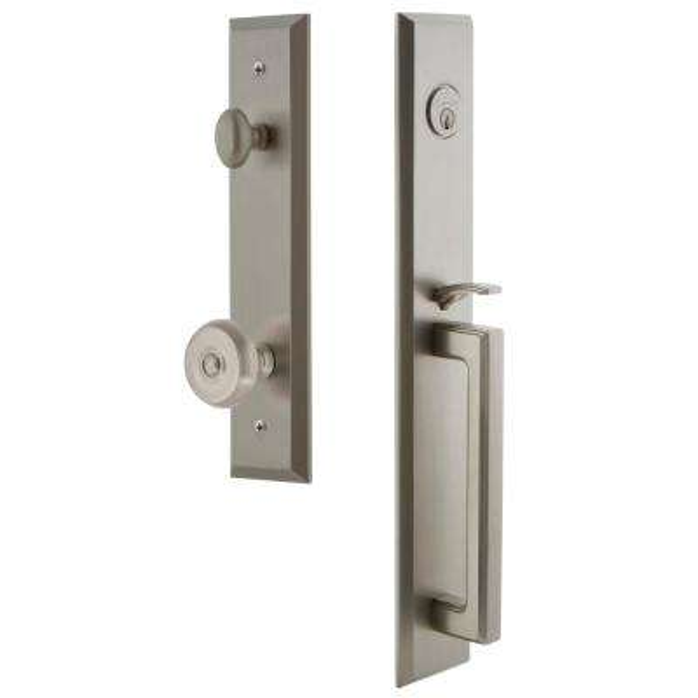 Fifth Avenue Satin Nickel 1-Piece Door Handleset with D-Grip and Bouton Knob