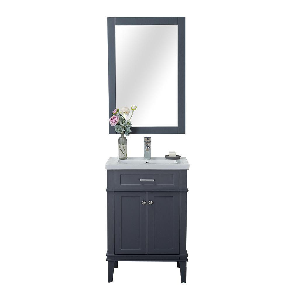 Alya Bath Lancaster 24 in. W x 18.25 in. D x 34.75 in. H Vanity in Gray with Porcelain Top in White with White Basin