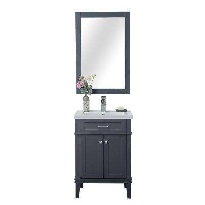 Lancaster 24 in. W x 18.25 in. D x 34.75 in. H Vanity in Gray with Porcelain Top in White with White Basin