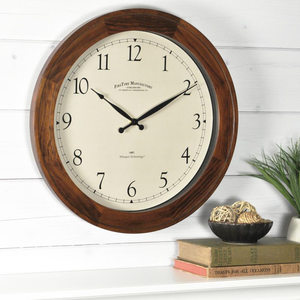 16 in. Wood Walnut Garrison Wall Clock