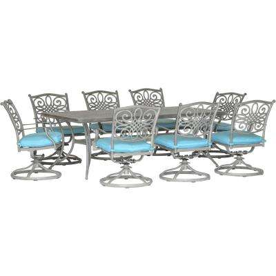 Traditions 9-Piece Aluminum Outdoor Dining Set with Blue Cushions 8 Swivel Rockers and Dining Table