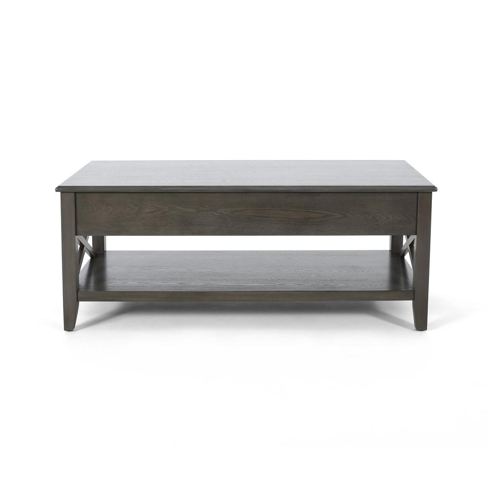 Noble House Decatur 48 In Gray Large Rectangle Wood Coffee Table With Lift Top 54387 The Home Depot