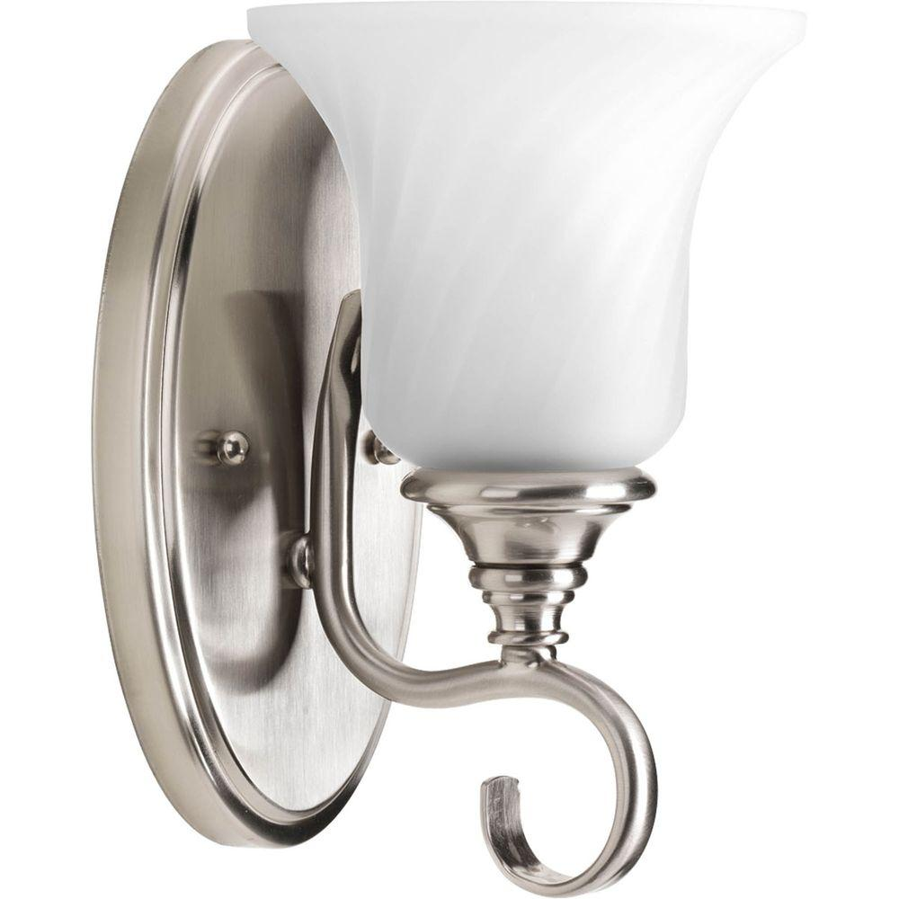 Progress Lighting Kensington Collection 1 Light Brushed Nickel Bath Sconce With Swirled Etched Glass Shade