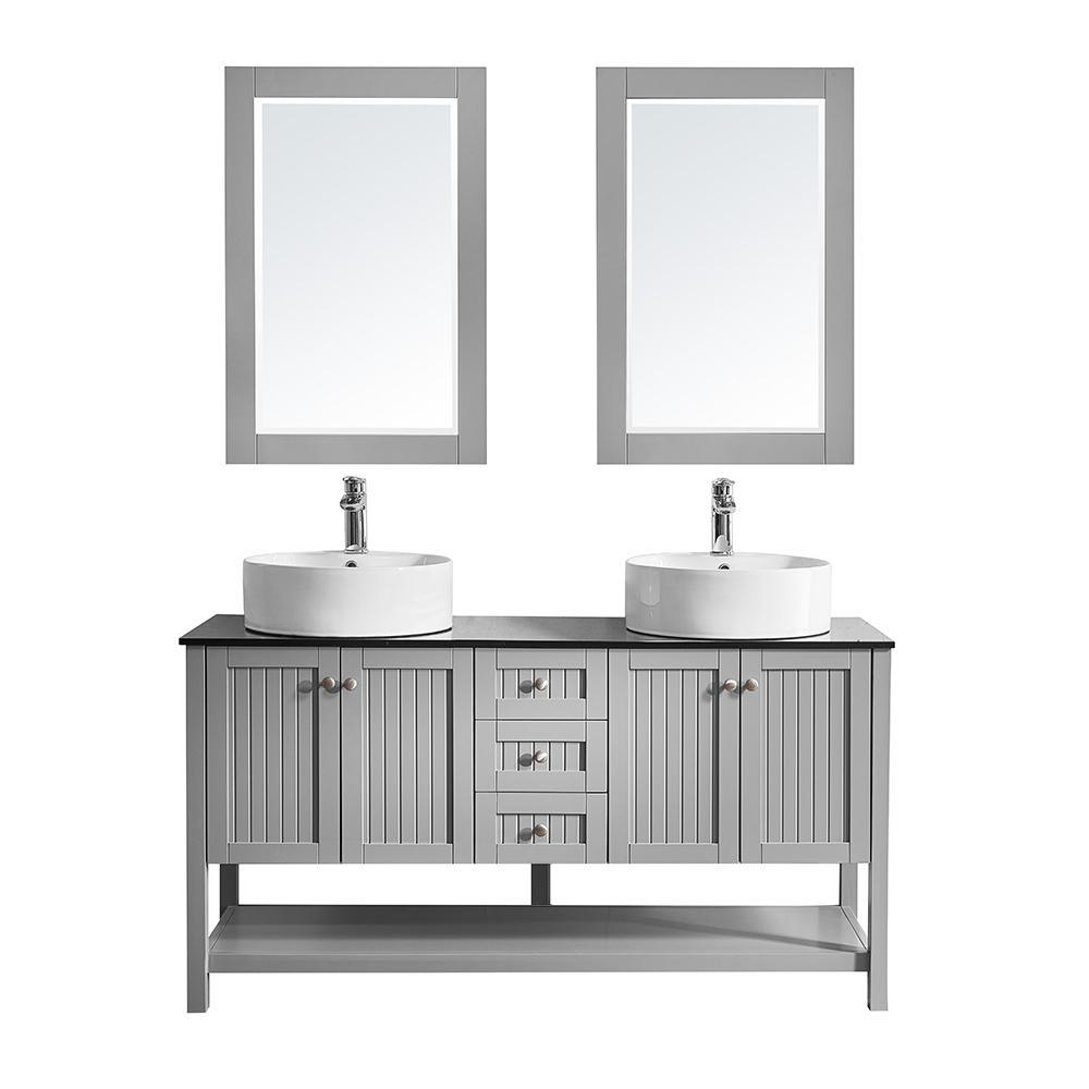 ROSWELL Modena 60 in. W x 20 in. D Vanity in Grey with Glass Vanity Top in Black with White Basin and Mirror
