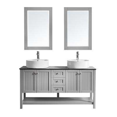 Modena 60 in. W x 20 in. D Vanity in Grey with Glass Vanity Top in Black with White Basin and Mirror