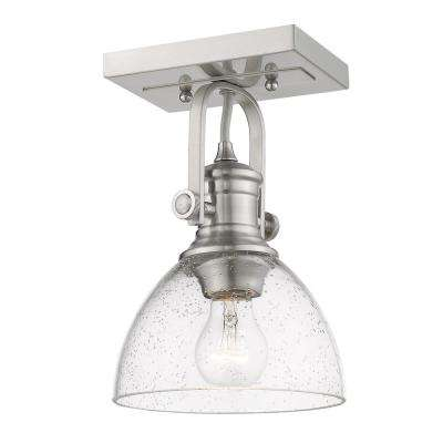 Hines 6.88 in. 1-Light Pewter with Seeded Glass Semi-Flush Mount