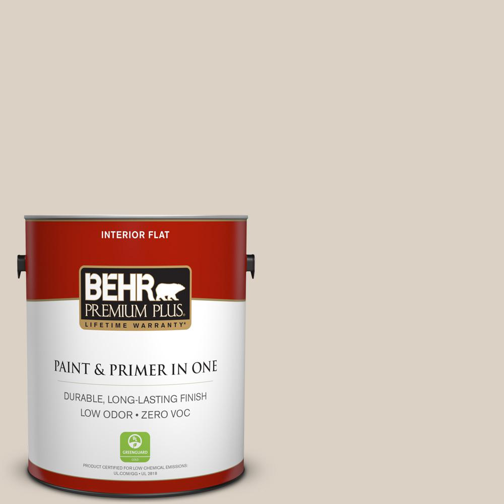 BEHR Premium Plus 1-gal. #730C-2 Sandstone Cove Zero VOC Flat Interior Paint