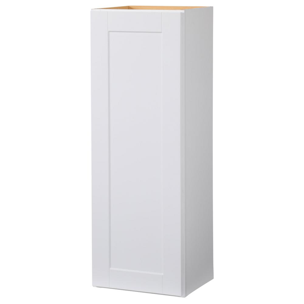 Hampton Bay Shaker Assembled 15x42x12 in. Wall Kitchen Cabinet in Satin White