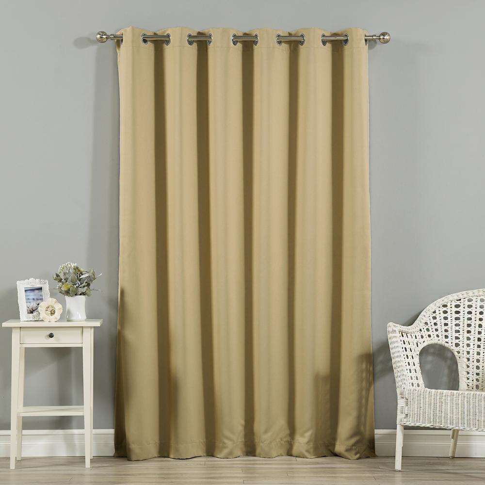 Wide Width Basic Silver 80 in. W x 84 in. L Grommet Blackout Curtain in Wheat
