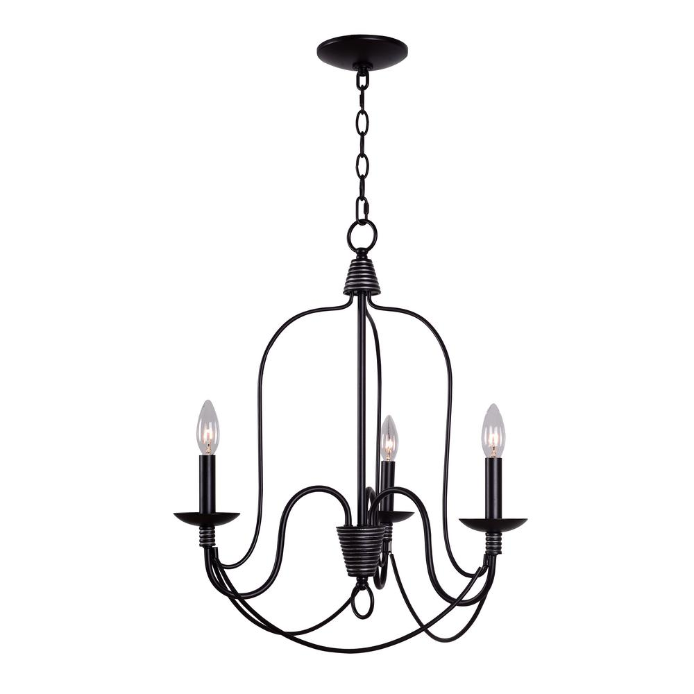 Home Decorators Collection Rivy West 3-Light Oil Rubbed Bronze with Silver Highlights Chandelier