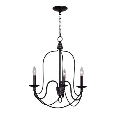 Rivy West 3-Light Oil Rubbed Bronze with Silver Highlights Chandelier