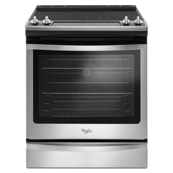 Whirlpool 6.4 cu. ft. Slide-in Electric Range with True Convection in Stainless Steel