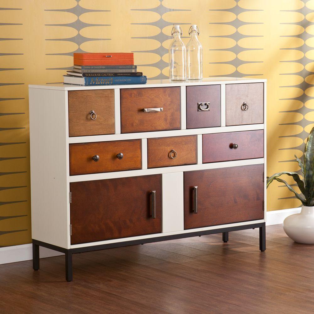Southern Enterprises Rose Vanilla Cream Storage Console Table Hd865379 The Home Depot