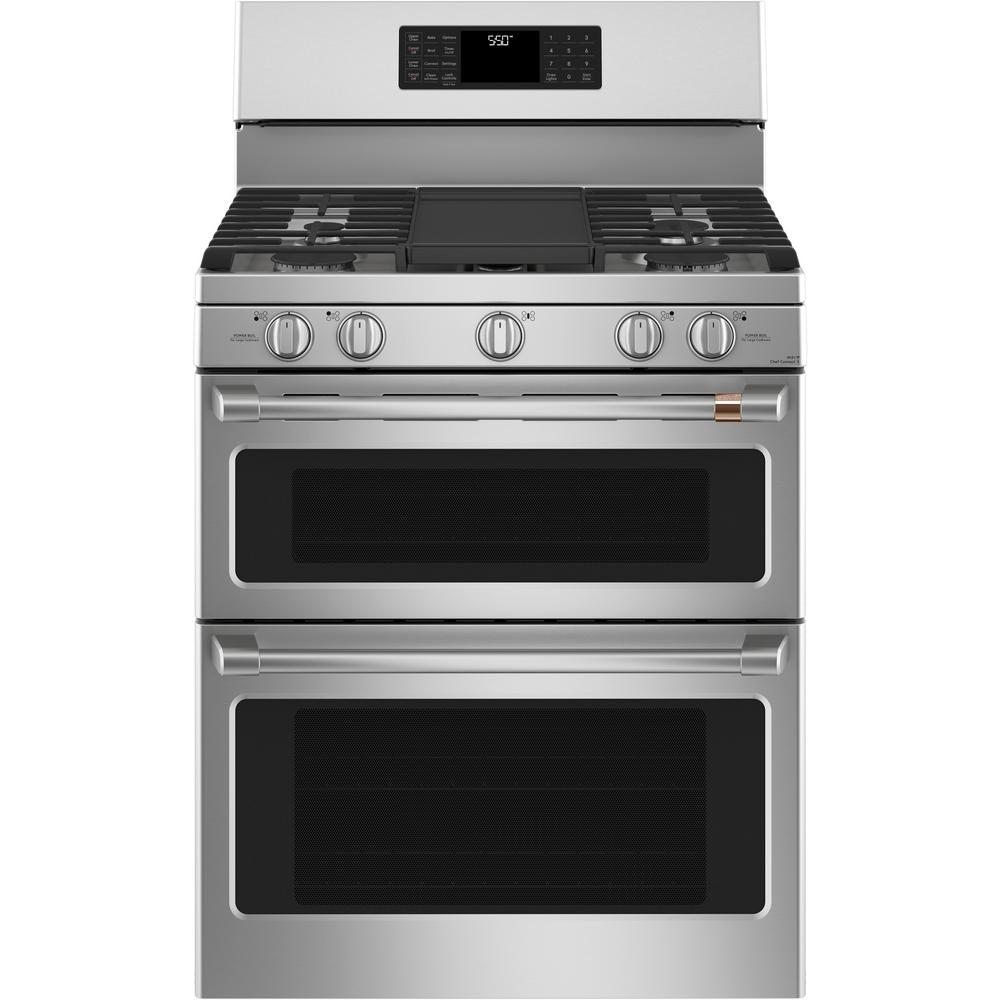 Cafe 30 in  7 0 cu  ft  Smart Double Oven Gas Range with Steam-Cleaning  Convection Oven in Stainless Steel