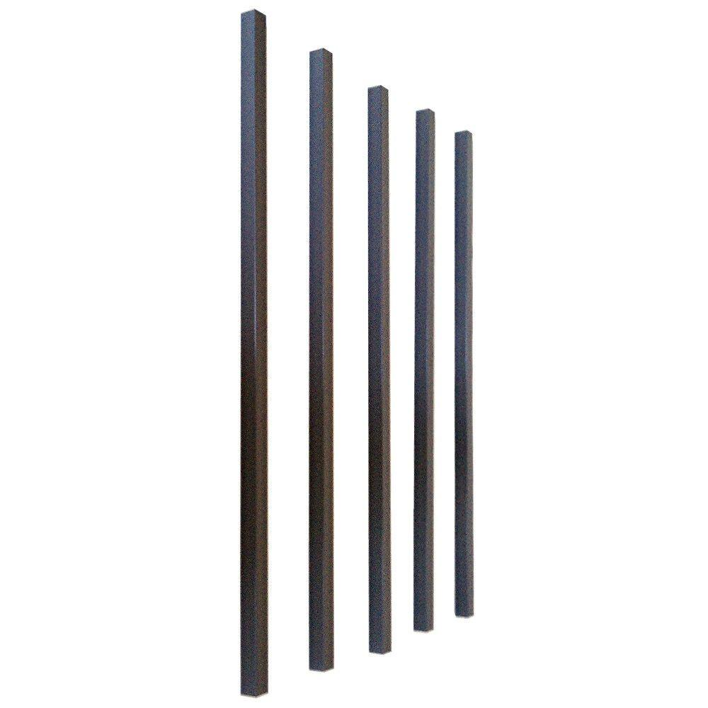 Pegatha 26 in. x 3/4 in. Charcoal Aluminum Square Deck Railing Baluster (5-Pack)