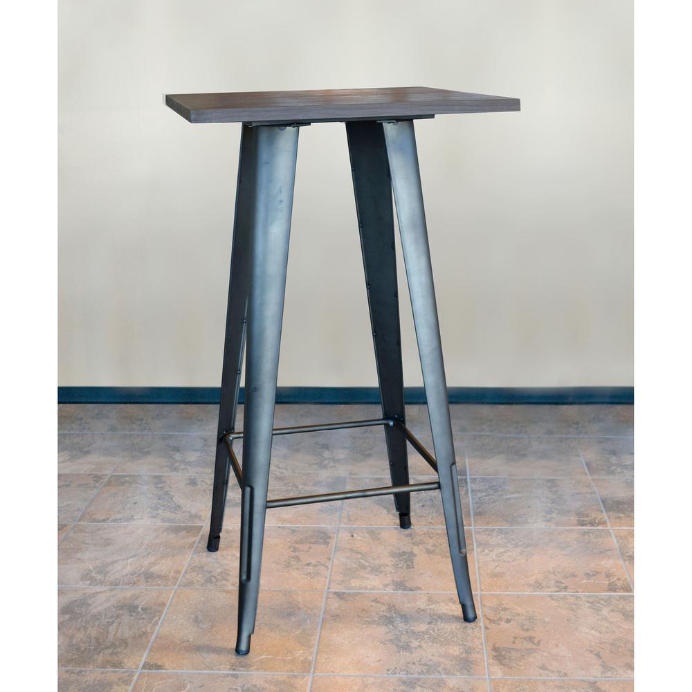 Loft Style 24 in. x 24 in. Black Metal Bar Table with Dark Elm Wood Tabletop