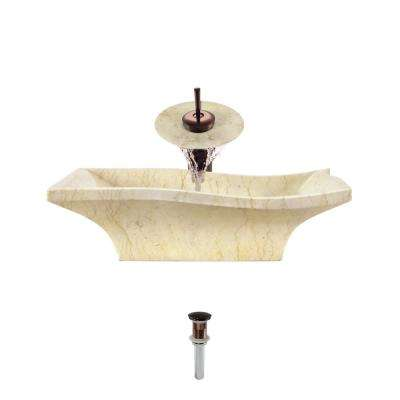 Stone Vessel Sink in Egyptian Yellow Marble with Waterfall Faucet and Pop-Up Drain in Oil Rubbed Bronze