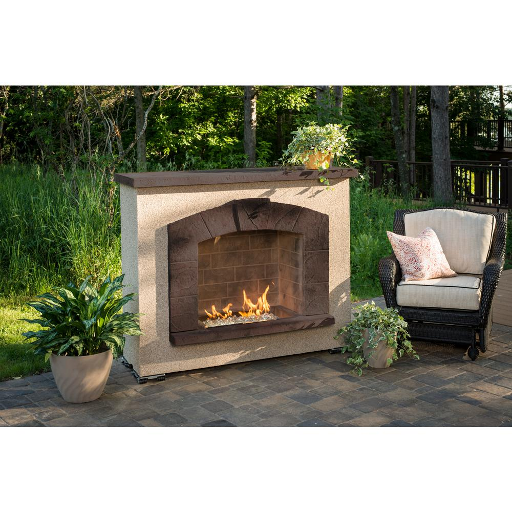 Stone arch 50 in stucco gas fireplace