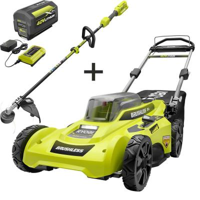 20 in. 40-Volt Lithium-Ion Brushless Cordless Battery Walk Behind Push Lawn Mower & Trimmer w/6.0 Ah Battery & Charger