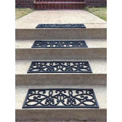 Decorative Scrollwork Indoor/Outdoor Entryway Rubber Door Mat Set with Stair Tread Cover (5-Piece Set)