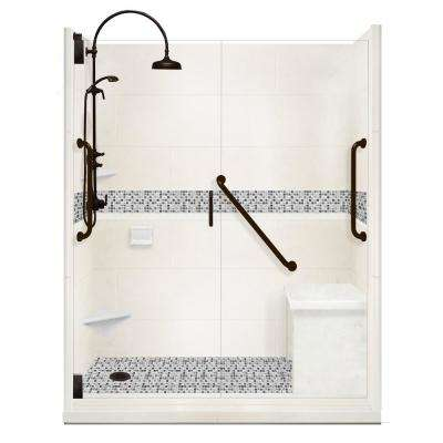 Del Mar Freedom Luxe Hinged 34 in. x 60 in. x 80 in. Left Drain Alcove Shower Kit in Natural Buff and BK Pipe Hardware