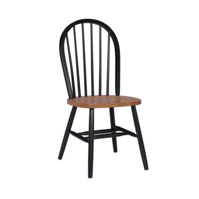 Black and Cherry Wood Spindle Back Windsor Dining Chair