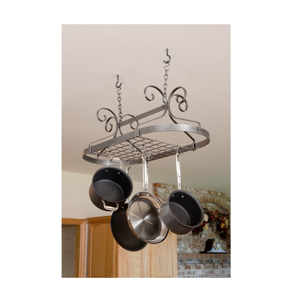 Handcrafted Scrolled Oval Pot Rack with 12 Hooks Hammered Steel