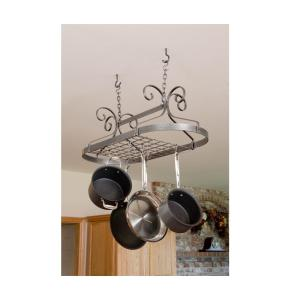 Enclume Decor Oval Ceiling Pot Rack in Hammered Steel by Enclume