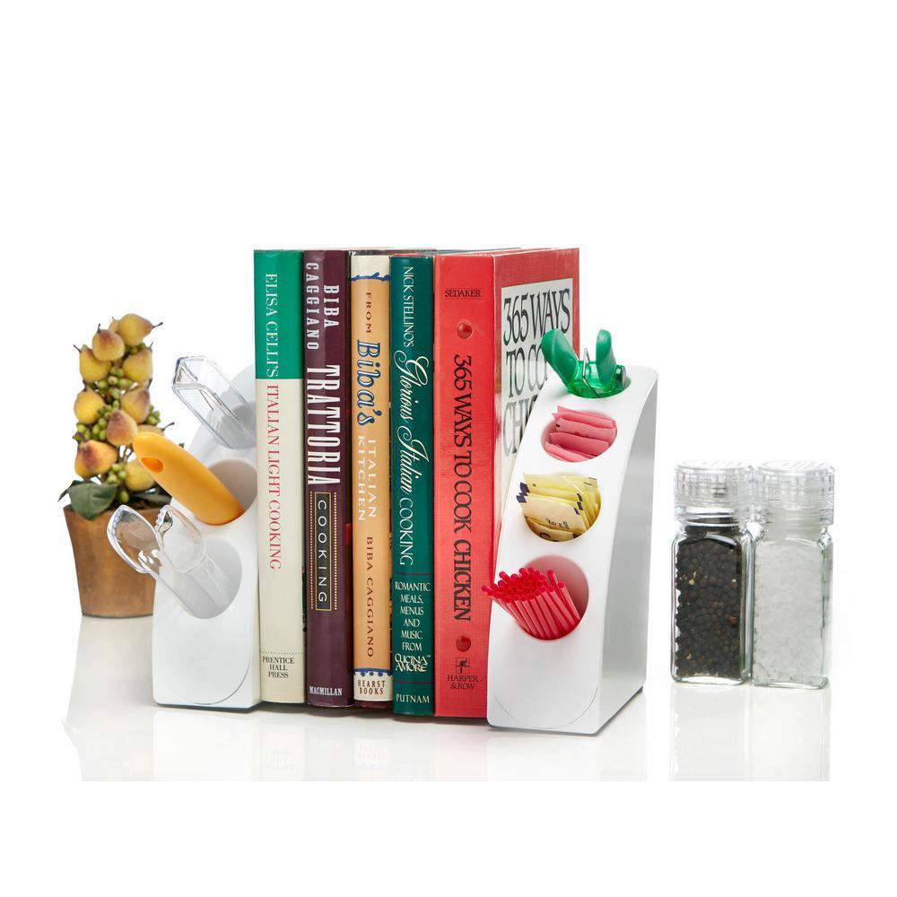 Smart White Quarter Bookend Desk Organizer