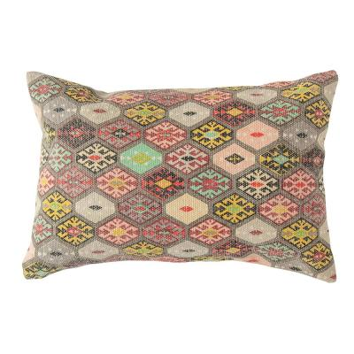 Multicolor Distressed Dhurrie Lumbar 24 in. x 16 in. Throw Pillow
