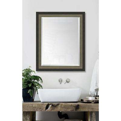 28 in. x 34 in. Framed Slate Black and Farmhouse Brown Mirror