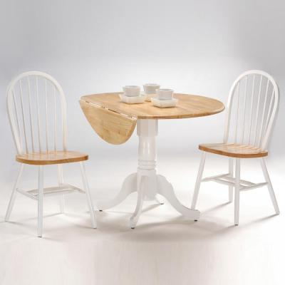 Brynwood 3-Piece 42 in. White and Natural Round Drop-Leaf Wood Dining Set with Copenhagen Chairs