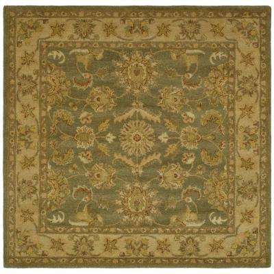 Antiquity Green/Gold 6 ft. x 6 ft. Square Area Rug