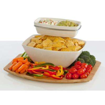 Creative Ware 'TableStyles' Bamboo/Ceramic Chip 'n Dip Party Server Set