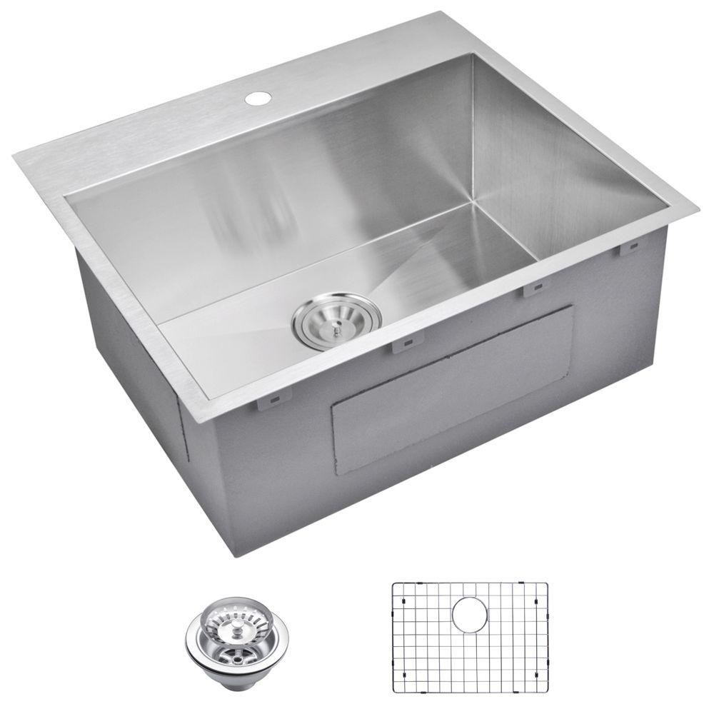 Water Creation Drop-In Zero Radius Stainless Steel 25 in. 1-Hole ...