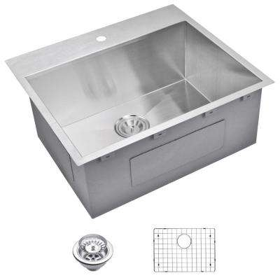 Drop-In Zero Radius Stainless Steel 25 in. 1-Hole Single Bowl Kitchen Sink with Strainer and Grid in Satin