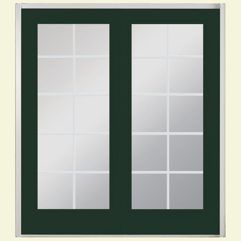Masonite 72 in. x 80 in. Conifer Prehung Right-Hand Inswing 10 Lite Fiberglass Patio Door with No Brickmold in Vinyl Frame