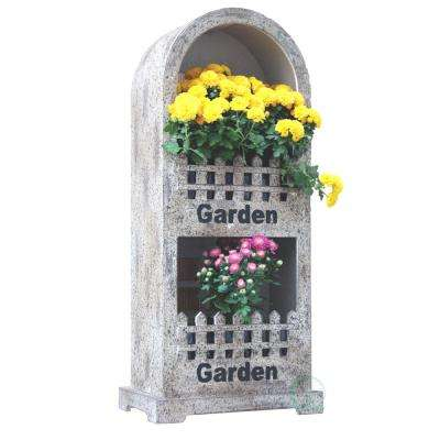10.2 in. W x 6.5 in. D x 22.5 in. H Wood 2 Section Wall Planter