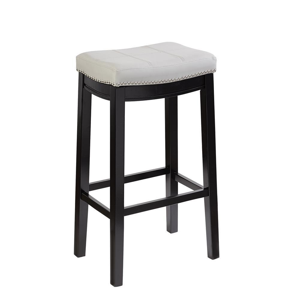 Claridge Brown 30 in. Bar Stool with Grey Seat