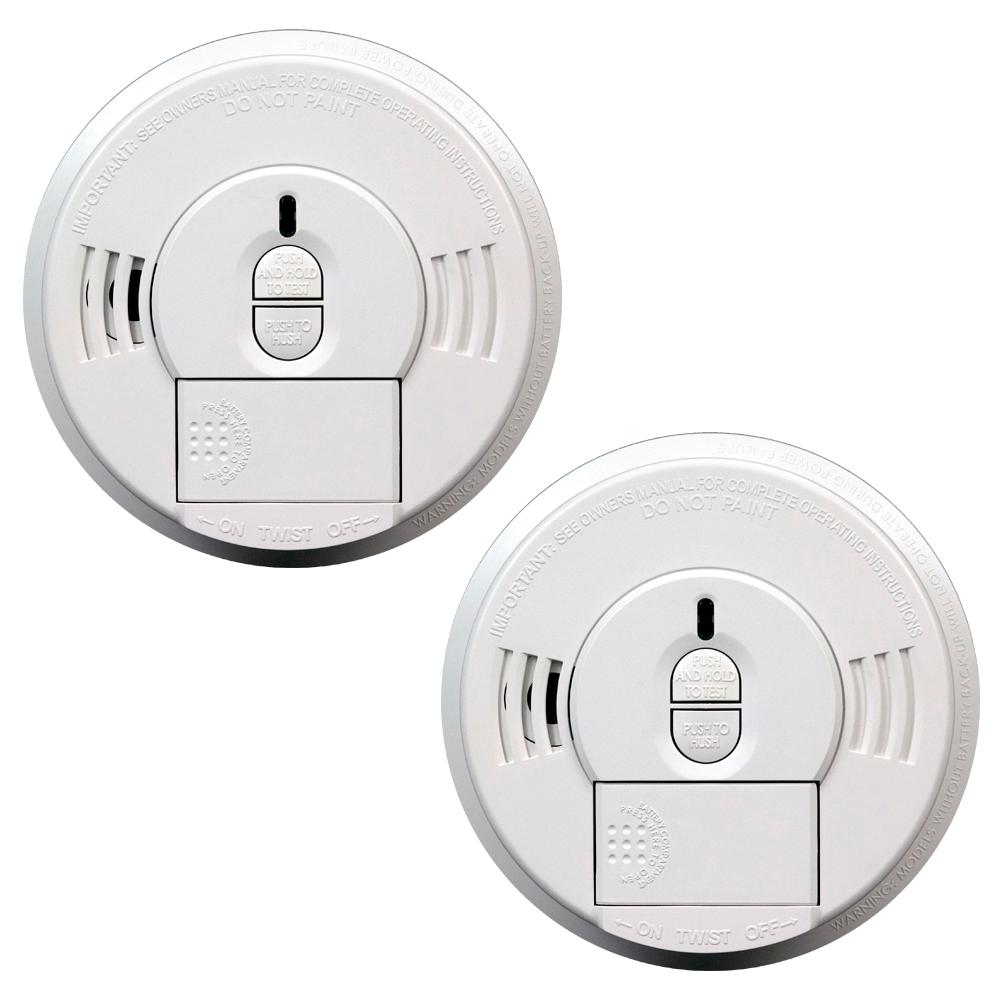 Kidde Hardwired 120-Volt Front Load Smoke Detector with Battery Back Up and Adapters (Twin-Pack)