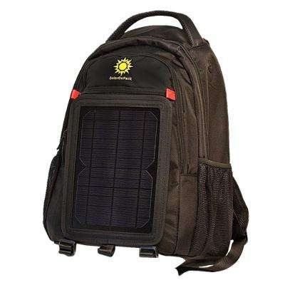 12K mAh Battery 5-Watt Size Solar Panel Charger Black Solar Backpack
